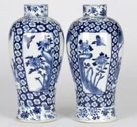 Chinese Pair of Large Blue & White Panel Vases with Figures Qing Dynasty (7 of 25)