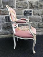Antique French Polychrome Painted Desk Chair (6 of 8)