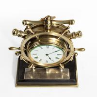 Brass Ship's Novelty Clock Presented to Captain Tynte F Hammill RN (5 of 7)