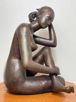 Art Deco Style Nubile African Tribal Bronze Nude Lady Statue Sculpture (3 of 28)