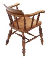 Elm and Beech Bow Armchair Elbow Desk Chair Victorian C1890 (6 of 8)