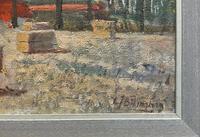 Lovely Original 20th Century Vintage Impressionist Harvest Haystack Landscape Painting (10 of 12)