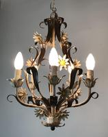 Vintage Rustic Original French Toleware Daisies Ceiling Light Chandelier (4 of 9)