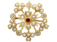 Ruby & Seed Pearl, 15ct Yellow Gold Pendant / Brooch - Antique c.1920 (7 of 14)