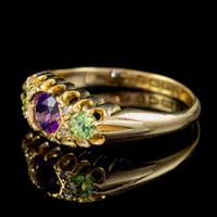 Antique Suffragette Ring Amethyst Peridot Diamond 18ct Gold S Blanckensee And Son Dated 1917 (3 of 8)