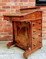 Antique Victorian Inlaid Burr Walnut Davenport Writing Desk (2 of 12)