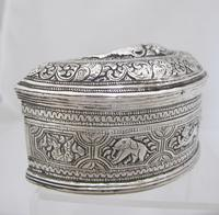 Beautiful Antique Silver Shan States Burmese Lime Box c.1900 (3 of 8)