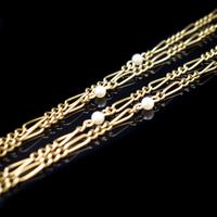 Antique Amethyst Peridot and Pearl Fiagro 15ct 15k Gold Long Guard Chain Necklace Suffragette (5 of 9)