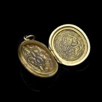 Antique 'IOGT' Rolled Gold Double Sided Engraved Oval Photo Locket Pendant (7 of 9)