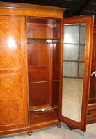 1900s Large 3 Door Satin Walnut Combination Wardrobe (3 of 7)