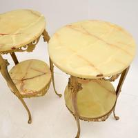 Pair of Antique French Brass & Onyx Side Tables (4 of 7)