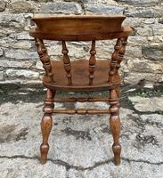Antique Elm Captains Chair Smokers Bow (7 of 13)