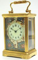 Superb French 8 Day Champleve Carriage Clock Cylinder Platform, Working c.1900 (9 of 12)