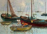 Marion Coker Leigh on Sea Fishing Boats Seascape Sailing Oil Painting (15 of 15)