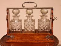 Liquor Cellar / Tantalus In Silver Metal And Oak Three Crystal Bottles - 19th Century (6 of 10)