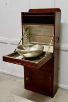 19th Century Art Deco Pullman Style Mahogany & Steel Ships Fold Away Sink (3 of 10)