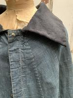 Antique French handmade indigo blue striped linen cape or cloak with black wool collar one size (6 of 10)