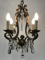Gilt Bronze Toleware Chandelier with Crystal Droplets (4 of 8)