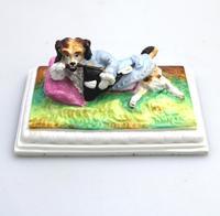 Unusual & Rare Paris Porcelain Novelty Humorous Dog Desk Weight 19th Century (3 of 5)