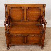 Oak Monks Bench Settle Carved Folding Hall Arts & Crafts (2 of 12)
