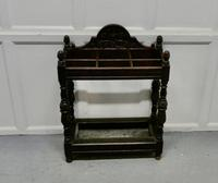 Victorian Carved Oak Stick Stand & Matching Mirror Set (5 of 9)