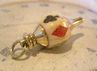 Antique Pocket Watch Chain Fob 1890s Victorian Large Brass & Bone Gambling Fob (3 of 9)