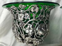 Pair English Sheffield Silver Champagne Rock Crystal Ice Cooler Cherub Vases (7 of 12)