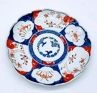 Chinese Asian Imari Plate 19th Century 1850-1899 Imari Rust Red Cobalt Blue Porcelain
