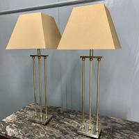 Pair of Chrome & Brass Rodded Table Lamps (2 of 9)