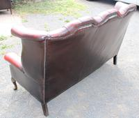 1960s Red Leather Chesterfield Wingback 3 Seater Sofa with Union Jack Cushions (4 of 4)