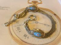 Antique Pocket Watch Chain 1880s Victorian Silver Nickel & Enamel Fancy Albert (2 of 11)