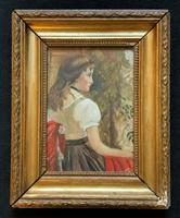 Small Watercolour Portrait Painting of a Seated Female c.1950-1960