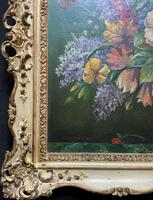 An Extraordinary Original 1952 Vintage French Still Life Of Flowers Oil Painting (10 of 11)