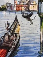 Set of 4 Watercolours Venice by Sirrol listed artist Aka Antonio Sirolli 1950s (7 of 10)