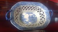 Antique Davenport Pottery Pearlware Latticed Worked Chestnut Basket (6 of 7)