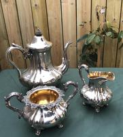 19th Century Silver Plated 3 Piece Tea Set (3 of 5)