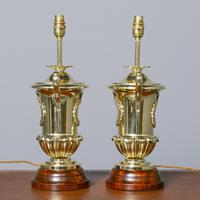Victorian Pair of Urn Shape Cast Brass Lamps (4 of 10)