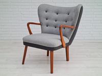 Danish lounge armchair, 60s, furniture wool, completely reupholstered (7 of 17)