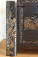 Chinese relief carved camphorwood coffer with an ebonised finish (11 of 23)