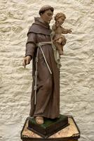 Exceptional Early 1900's Signed 39'' Carved Sculpture Statue St Anthony & Jesus (3 of 18)