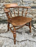 Antique Elm Captains Chair Smokers Bow (10 of 13)