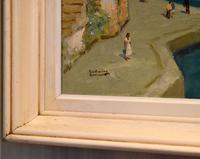 Italian lake scene oil painting by Godwin Bennett (4 of 8)