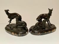 Pierre Jules Mene - Bronze Pair of Whippet, Greyhound & Spaniel (2 of 6)
