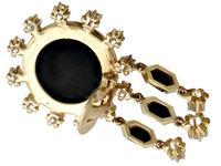 1.40ct Diamond & Onyx, 14ct Yellow Gold Drop Earrings - Art Deco Style - Vintage c.1950 (4 of 9)