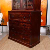 Tall Antique Secretaire Bureau Bookcase Astragal Glazed Mahogany Library Cabinet (11 of 13)