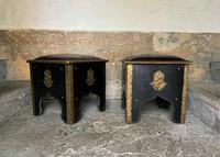 Pair of Moroccan Country House Studded & Leather Upholstered Footstools Seats (5 of 9)