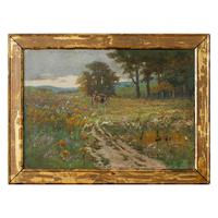 Early 20th Century German School Impressionistic Landscape with Cart