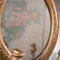 Pair of Antique Girandole Mirrors, English, Giltwood, Ovall, Wall, Regency, 1820 (9 of 10)