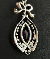 Antique Edwardian Paste Pendant, Sterling Silver (10 of 11)
