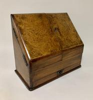 Antique Victorian Burr Walnut Desktop Stationery Cabinet (11 of 11)